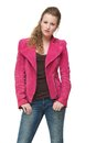 Portrait of a Cute Girl Posing in Pink Jacket Royalty Free Stock Photo
