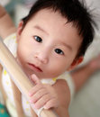 Portrait cute little asian boy crib Royalty Free Stock Photo