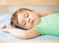 Portrait cute little boy sleeping white pillow Royalty Free Stock Photos