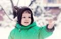 Portrait of cute little boy in winter time Stock Photos