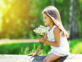 Portrait of cute little girl with bouquet of chamomiles flowers Royalty Free Stock Photo