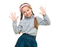 Portrait of a cute little girl with her hands up Royalty Free Stock Photo
