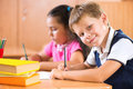 Portrait of cute schoolboy during lesson Royalty Free Stock Photo
