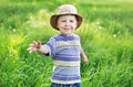 Portrait of a cute small boy playing on the meadow kid Royalty Free Stock Photo