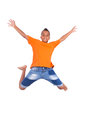 Portrait of a cute teenage black boy jumping over white background african people Stock Images