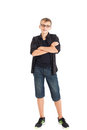Portrait of a cute teenage boy wearing glasses Royalty Free Stock Photo