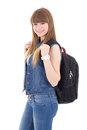 Portrait of cute teenage girl with backpack isolated on white background Stock Photo