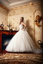 Portrait of cute young bride wearing the white via Stock Photography