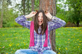 Portrait of cute young teenage girl make a fun Royalty Free Stock Image
