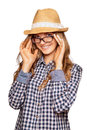 Portrait of a cute young woman wearing retro clothes hat and r reading glasses Stock Photos