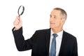 Portrait d homme d affaires avec une loupe Photos libres de droits