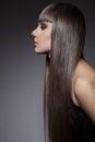 Portrait d une belle femme de brune avec de longs cheveux droits Photo stock