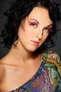 Portrait of dark hair beautiful girl Stock Images