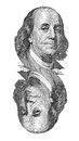 Portrait de benjamin franklin sur le billet de banque d isolement sur le blanc Photo libre de droits