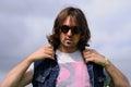 Portrait de justin young chef du groupe de rock indépendant anglais les vaccins Image stock