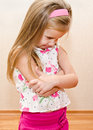 Portrait of disobedient crying little girl at home Royalty Free Stock Photography