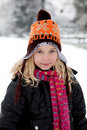 Portrait of Dutch girl in wintertime Stock Photo
