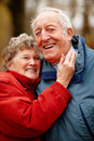 Portrait of elderly couple hugging each other Royalty Free Stock Photos