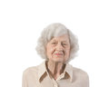 Portrait elderly lady of shot against white background with copyspace provided Royalty Free Stock Photo