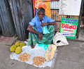 Portrait of elderly market vendor hikkaduwa sri lanka february selling his produce the sunday is great way to see hikkaduwa Stock Photos