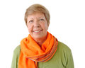 Portrait of elderly woman with orange cravat Royalty Free Stock Image