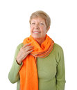 Portrait of elderly woman with orange cravat Royalty Free Stock Photography