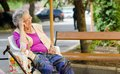 Portrait of the elderly woman outdoors Stock Photography