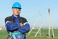 Portrait of electrician power lineman Royalty Free Stock Photo