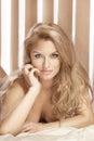 Portrait of elegant attractive blonde lady posing Royalty Free Stock Photos