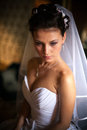 Portrait of elegant brunette bride at home closeup Royalty Free Stock Images
