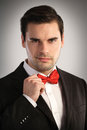 Portrait of an elegant man wearing a bow tie Stock Image