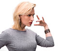 Portrait of emotional blond woman on a white background Stock Photography