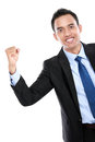 Portrait of a energetic young business man enjoying success isolated on white background Royalty Free Stock Photo