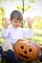 Portrait of an enthusiastic halloween little boy Stock Image