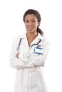 Portrait of ethnic female doctor smiling Stock Image