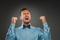 Portrait excited, happy man, arms up fists pumped celebrating su Royalty Free Stock Photo