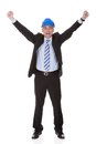 Portrait of excited mature architect isolated over white background Stock Photography