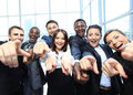 Portrait of excited young business people Stock Photos