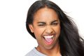 Portrait of an excited young woman with mouth open Royalty Free Stock Photo