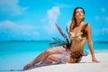 Portrait of exotic fantasy mermaid on the beach Royalty Free Stock Photo