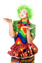 Portrait of expressive female clown Stock Photo