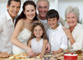 Portrait of family baking in the kit Royalty Free Stock Images