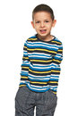 Portrait fashion little boy striped shirt white background Royalty Free Stock Photo
