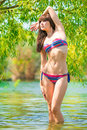 Portrait of fashion model in a lake the shade trees Stock Images
