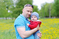 Portrait of father and son outdoors Royalty Free Stock Photo