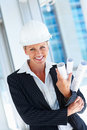 Portrait of a female architect in a hardhat Royalty Free Stock Photography