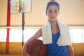 Portrait of female confident basketball player Royalty Free Stock Photo