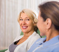 Portrait of female pensioners indoor happy smiling Stock Photography