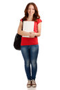 Portrait female student books backpack shot over white background Royalty Free Stock Images