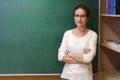 Portrait of a female teacher near the school blackboard